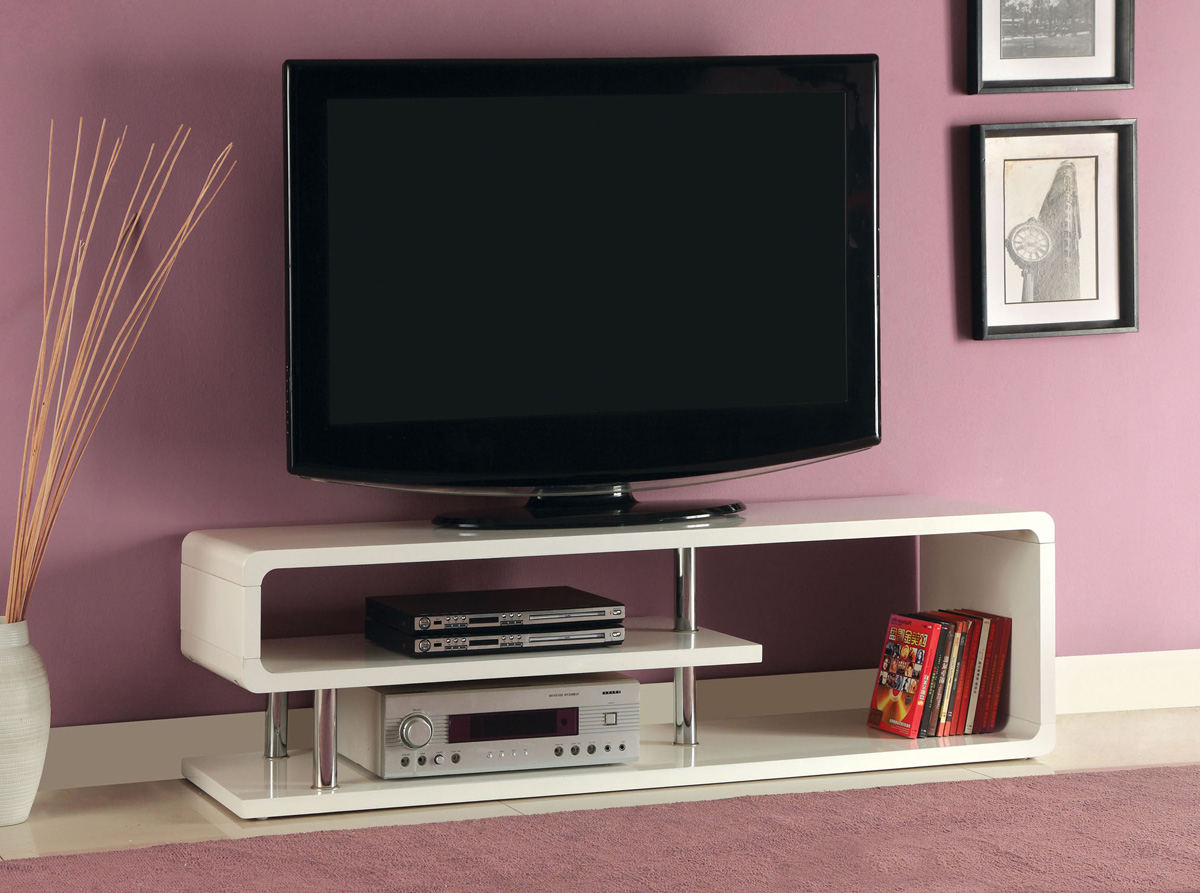 White High Gloss Finish Tv Stand • Caravana Furniture With Well Liked High Gloss Tv Benches (View 19 of 20)