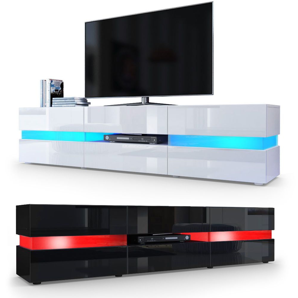White High Gloss Tv Stands With Popular Tv Cabinet Stand Board Unit Lowboard Rack Flow In White Or Black (View 11 of 20)