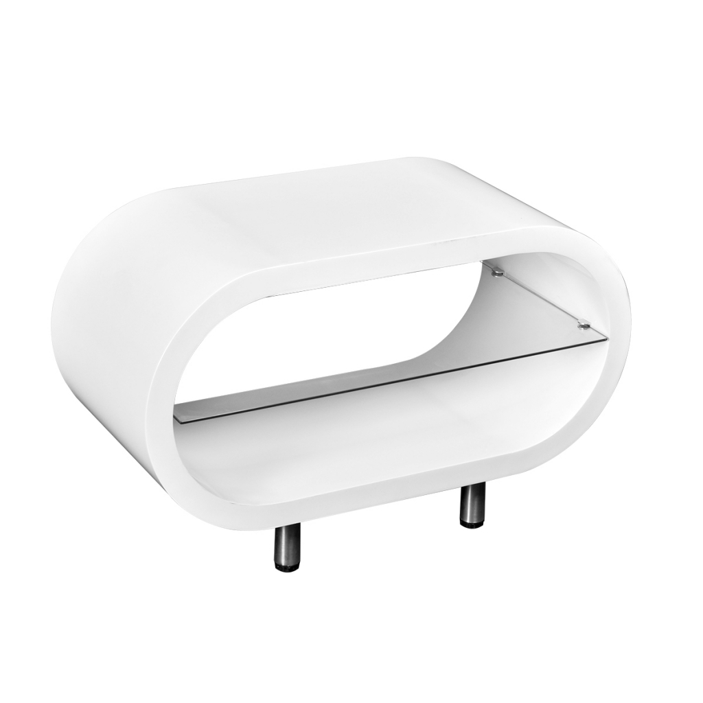 White High Gloss White Tv Stand Coffee Table Oval – Lovdock Throughout Most Up To Date Oval White Tv Stands (Gallery 20 of 20)