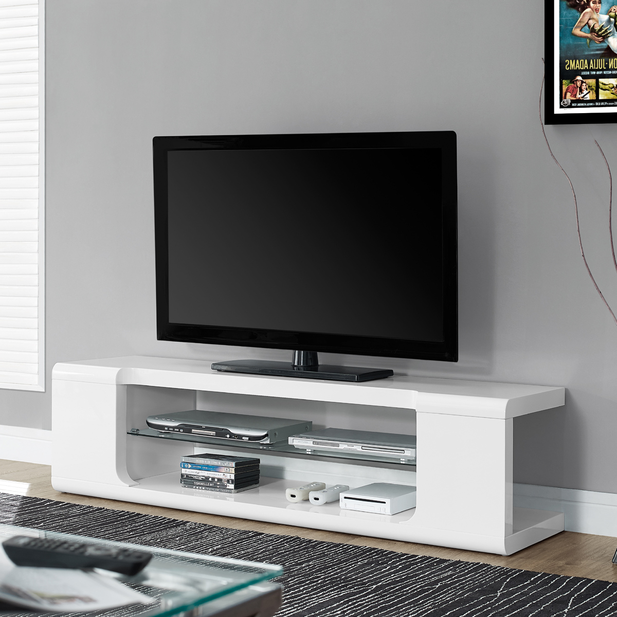 White Media Console Throughout Modern Glass Tv Stands (View 19 of 20)