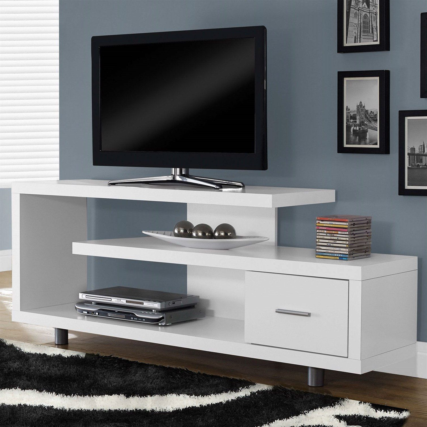 White Modern Tv Stand – Fits Up To 60 Inch Flat Screen Tv (View 3 of 20)
