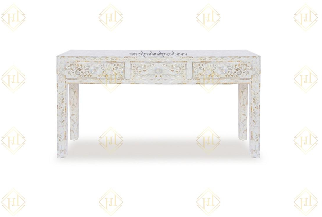 White Mother Of Pearl Inlay Floral 3 Drawer Within Trendy Black And White Inlay Console Tables (View 20 of 20)
