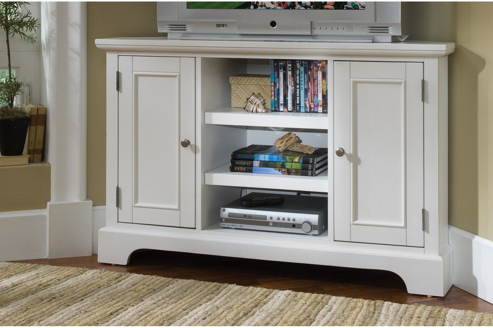 White Painted Tv Cabinets In Latest Tv Cabinet With Doors Stands Best Buy Corner Stand For 55 Inch Sears (View 14 of 20)