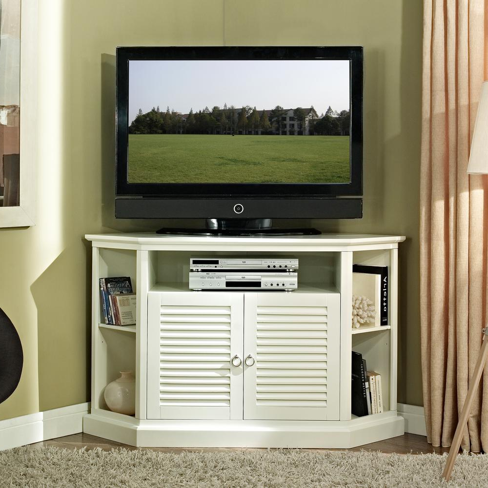 White Small Corner Tv Stands For 2018 Walker Edison Furniture Company White Entertainment Center (View 16 of 20)