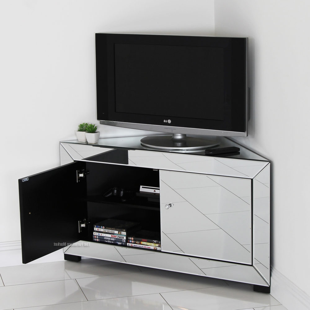 White Small Corner Tv Stands Intended For Favorite Contemporary Home Ideas With Venetian Mirrored Corner Tv Stand, And (View 18 of 20)