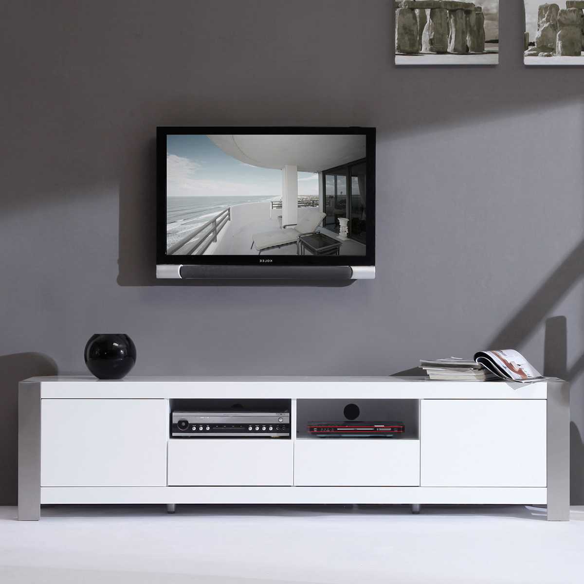 White Tv Stand Walmart 50 Inch Modern Mid Century Contemporary 54 In Famous White Modern Tv Stands (View 6 of 20)
