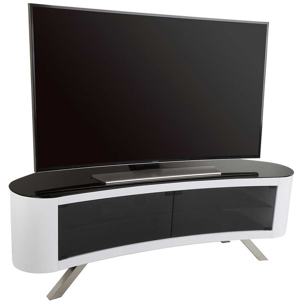 White Tv Stands For Flat Screens Pertaining To Famous Avf Bay Curved Tv Stand In White (View 16 of 20)