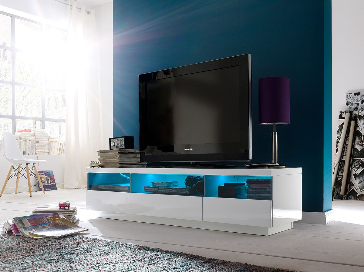 White Tv Stands For Flat Screens Pertaining To Fashionable Modern High Gloss White Tv Stand With Led Lighting (View 18 of 20)