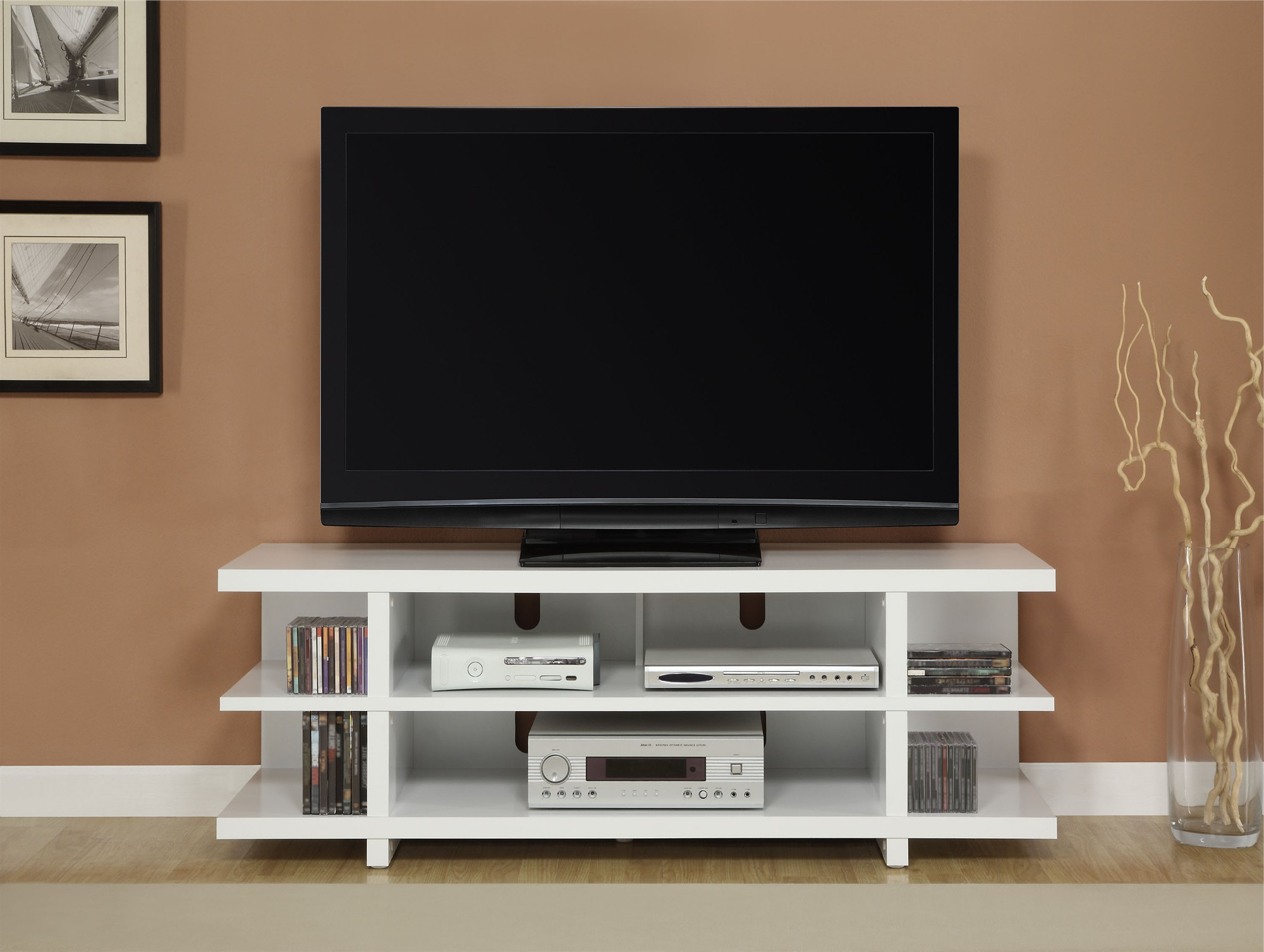 White Tv Stands For Flat Screens Regarding Current Furniture: Wonderful Mainstays Tv Stand For Home Tv Stand Furniture (View 17 of 20)