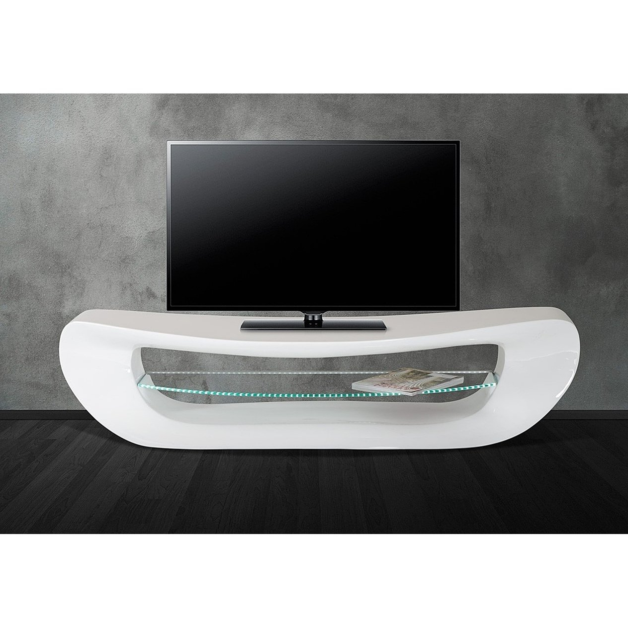 White Tv Stands For Flat Screens Regarding Most Recently Released Shop Helena Classic White Tv Stand With Led Lighting – Free Shipping (View 19 of 20)