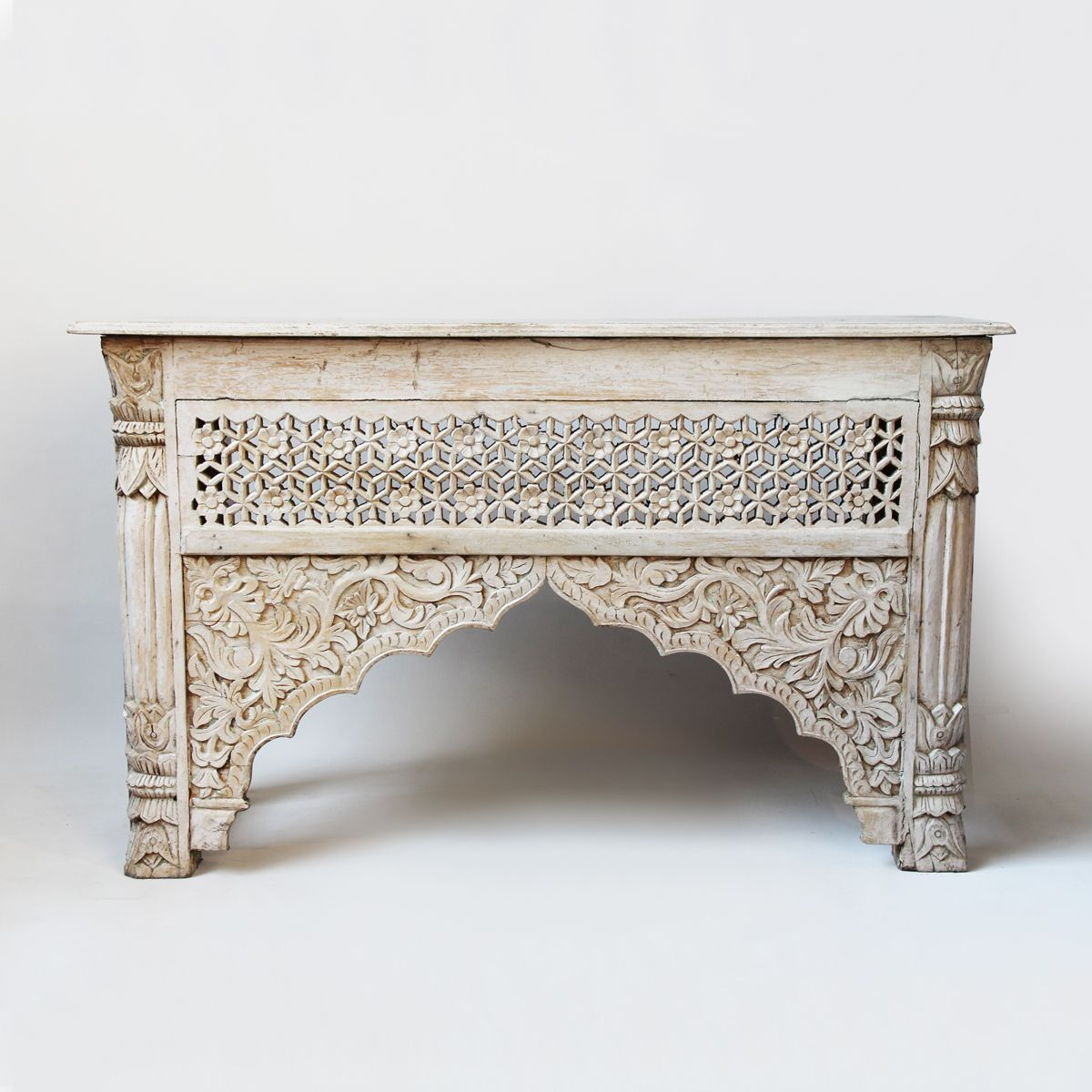 White Wash Carved Wood Architectural Console Table. (Gallery 12 of 20)