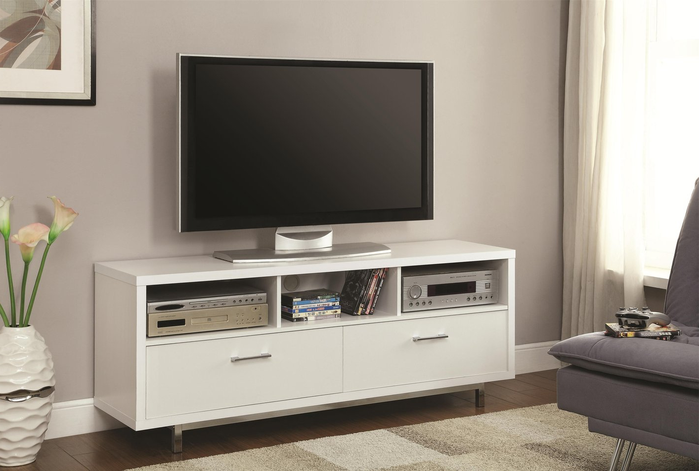 White Wood Tv Stand – Steal A Sofa Furniture Outlet Los Angeles Ca Throughout Well Liked White And Wood Tv Stands (View 4 of 20)