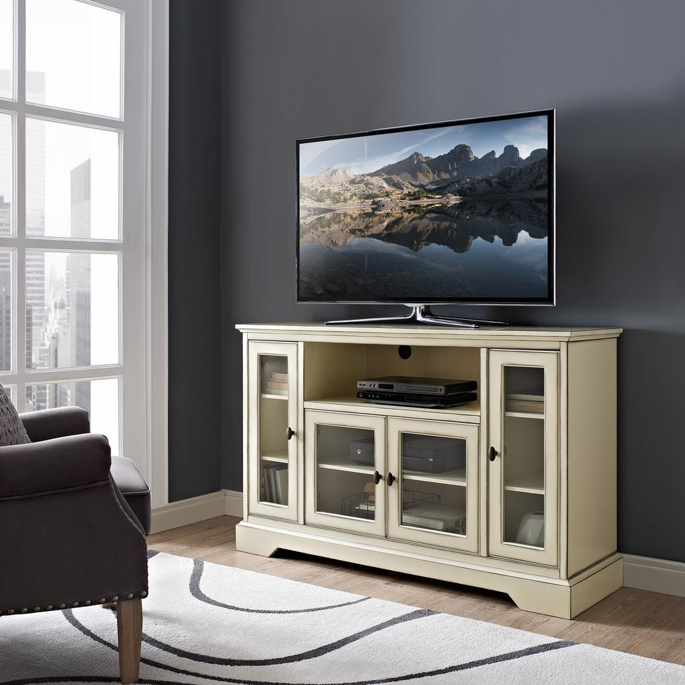 White Wood Tv Stands In 2018 Walker Edison Furniture Company 52 In (View 16 of 20)