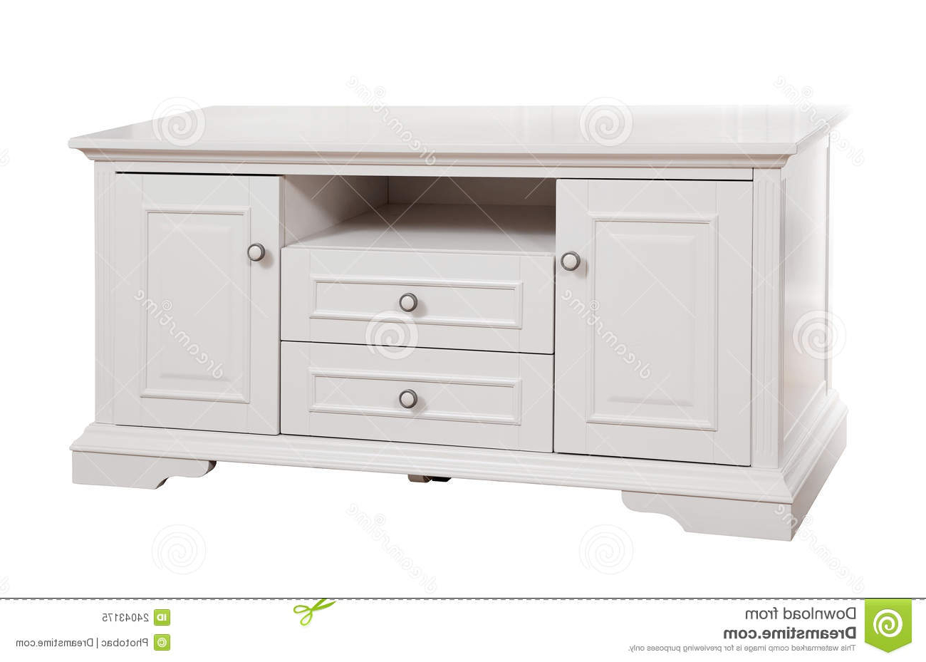 White Wood Tv Stands Throughout Well Known White Wooden (tv) Stand, With Clipping Path Stock Image – Image Of (View 5 of 20)