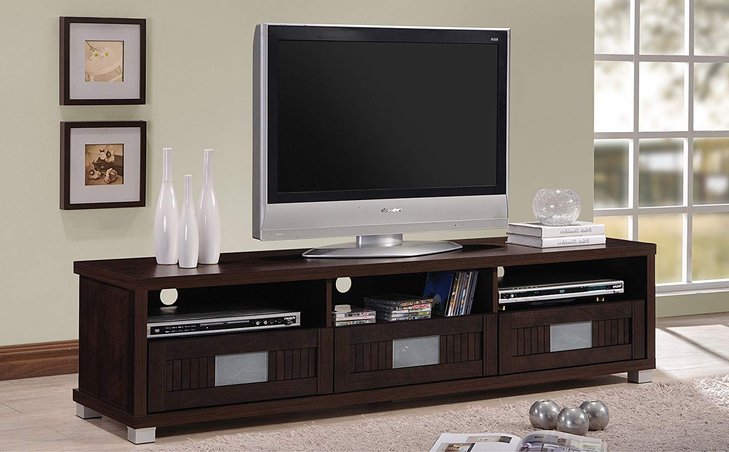 """Wholesale Interiors Baxton Studio Gerhardine Wood Tv Cabinet With 3 Drawer, 63"""", Dark Brown Within Most Recent Cabinet Tv Stands (View 7 of 20)"""