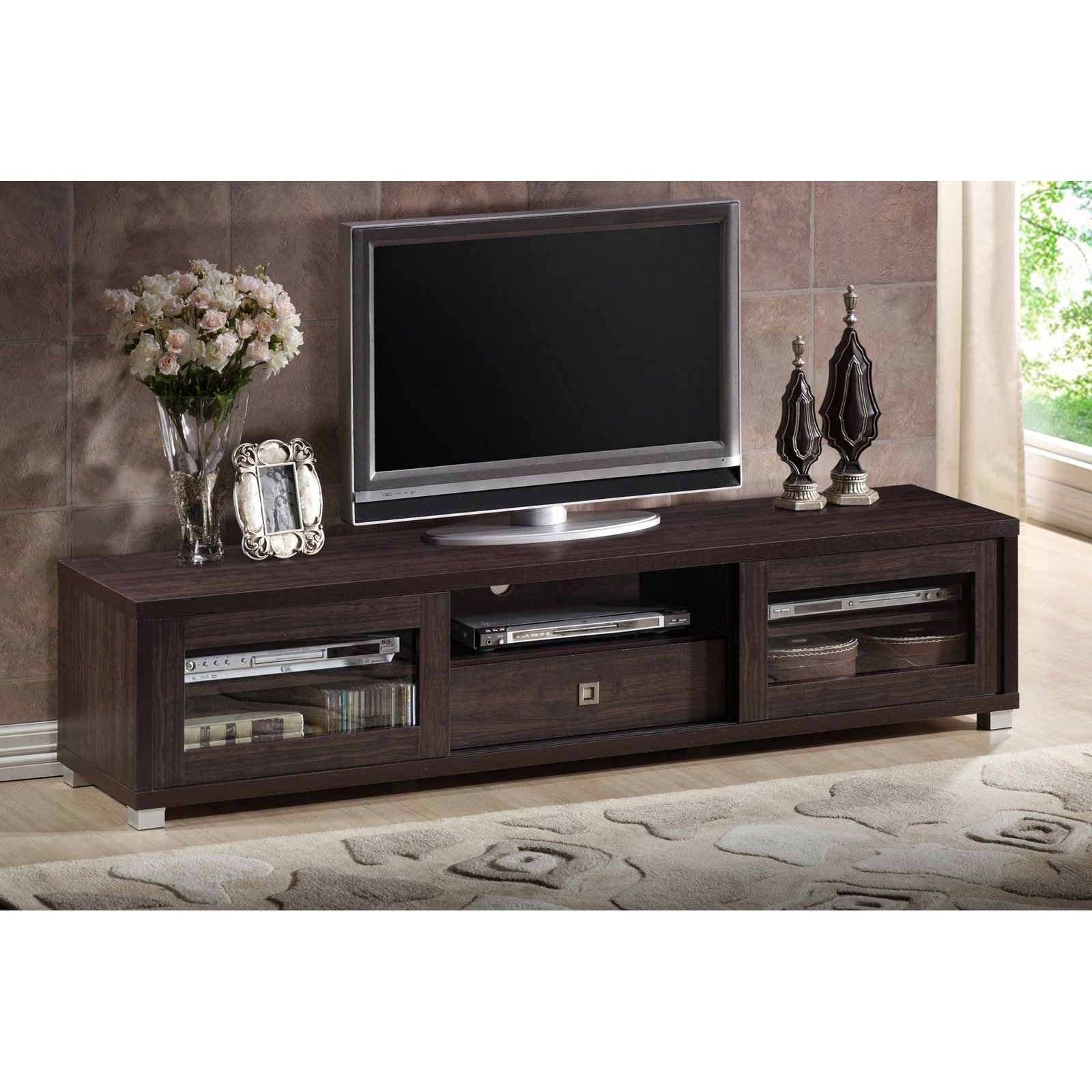 Wholesale Interiors Sculpten Dark Brown Modern Tv Stand With Glass With Recent Dark Tv Stands (View 20 of 20)