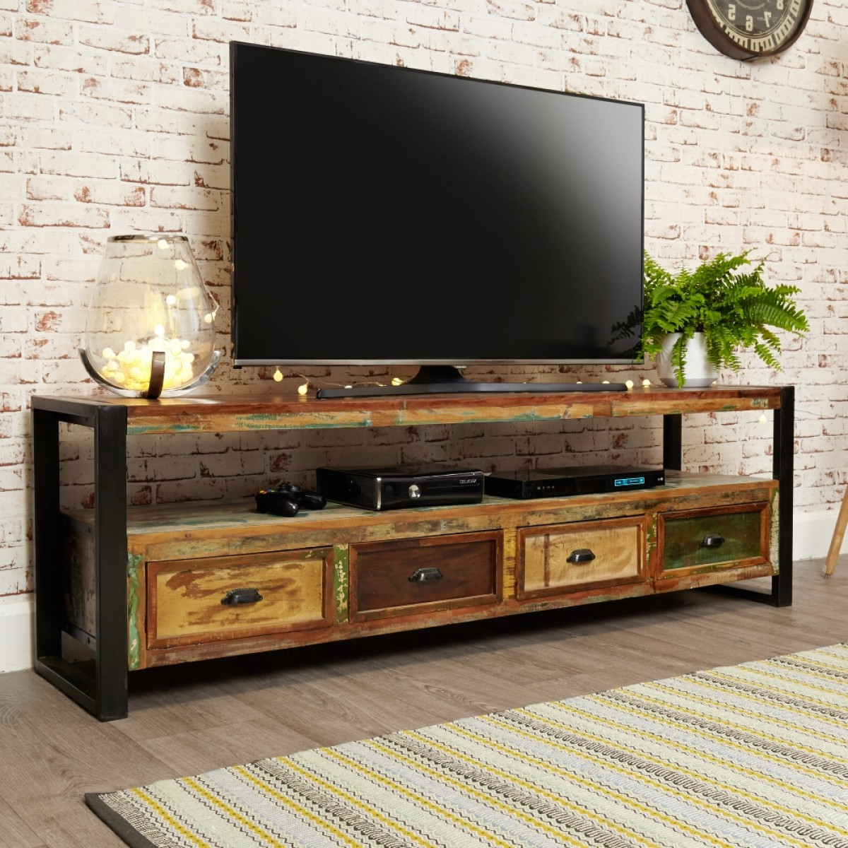 Wide Tv Cabinets Within Well Known Baumhaus Urban Chic Open Widescreen Tv Cabinet Irf09C (Gallery 1 of 20)