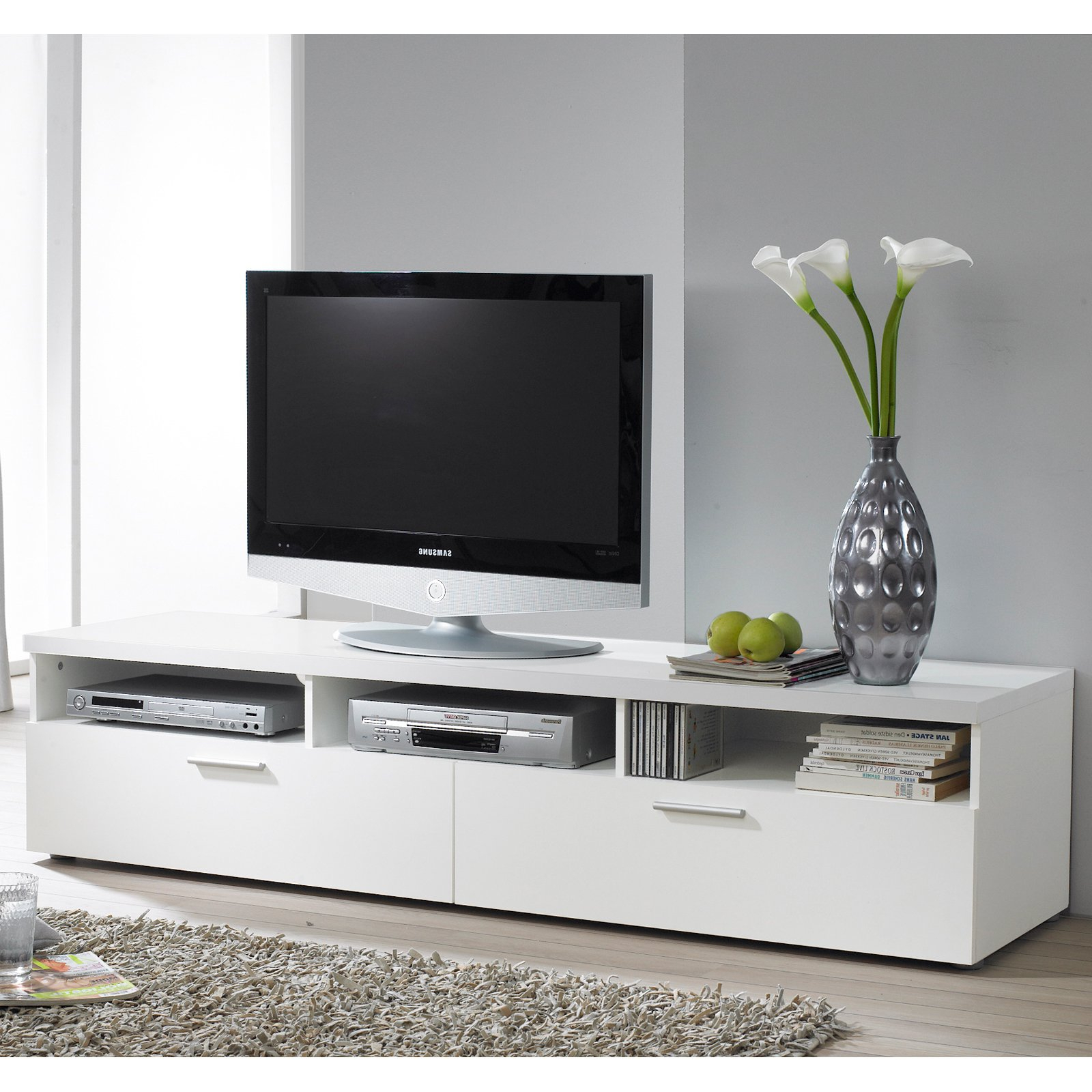 Wide White Tv Stand Extra 36 Inch 100 Cm – Buyouapp With Regard To Latest 100Cm Tv Stands (View 20 of 20)