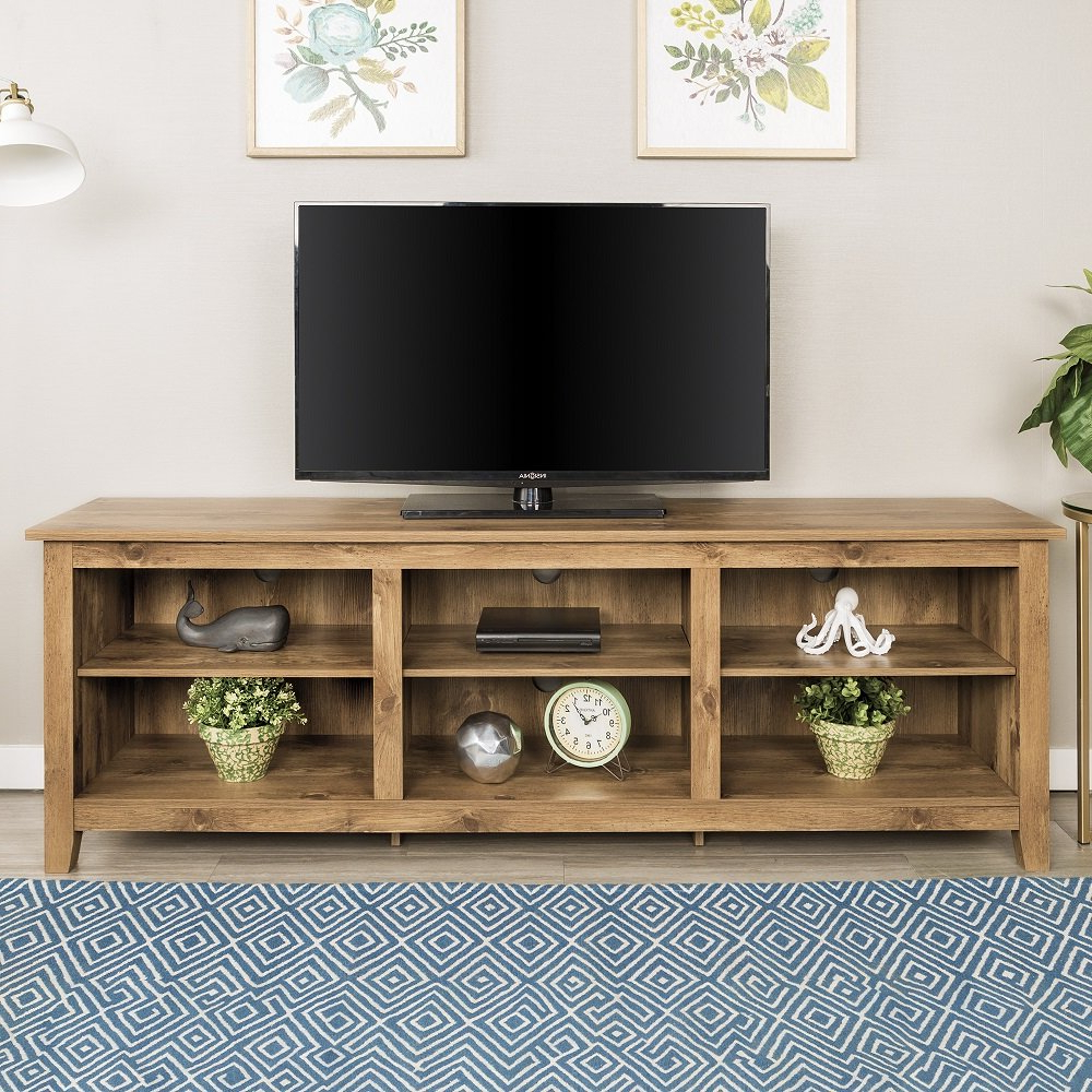 Widely Used Amazon: New 70 Inch Wide Barnwood Finish Television Stand With Preston 66 Inch Tv Stands (View 8 of 20)
