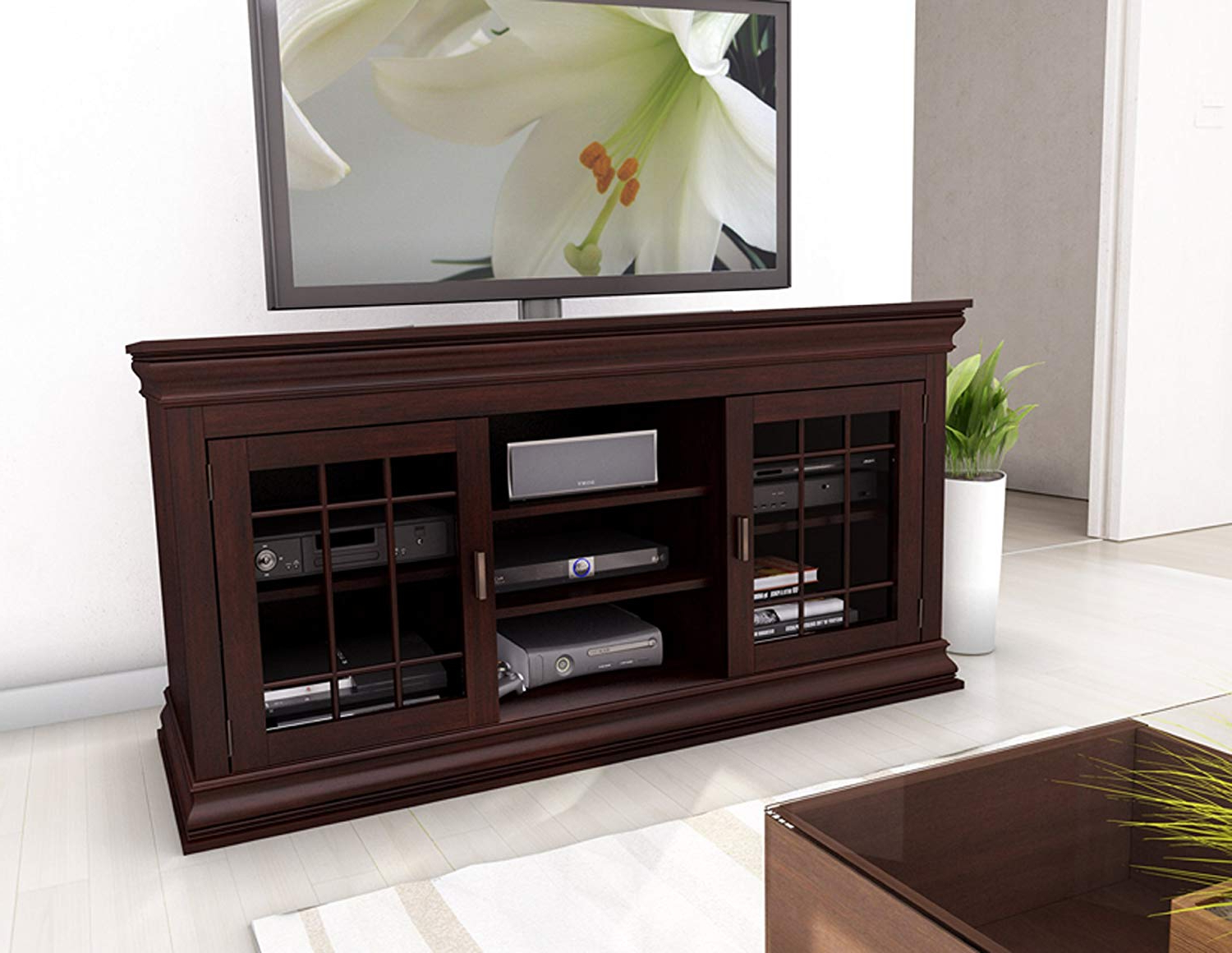 Widely Used Amazon: Sonax B 231 Nct Carson Extra Wide Tv/component Bench, 60 For Murphy 72 Inch Tv Stands (View 6 of 20)
