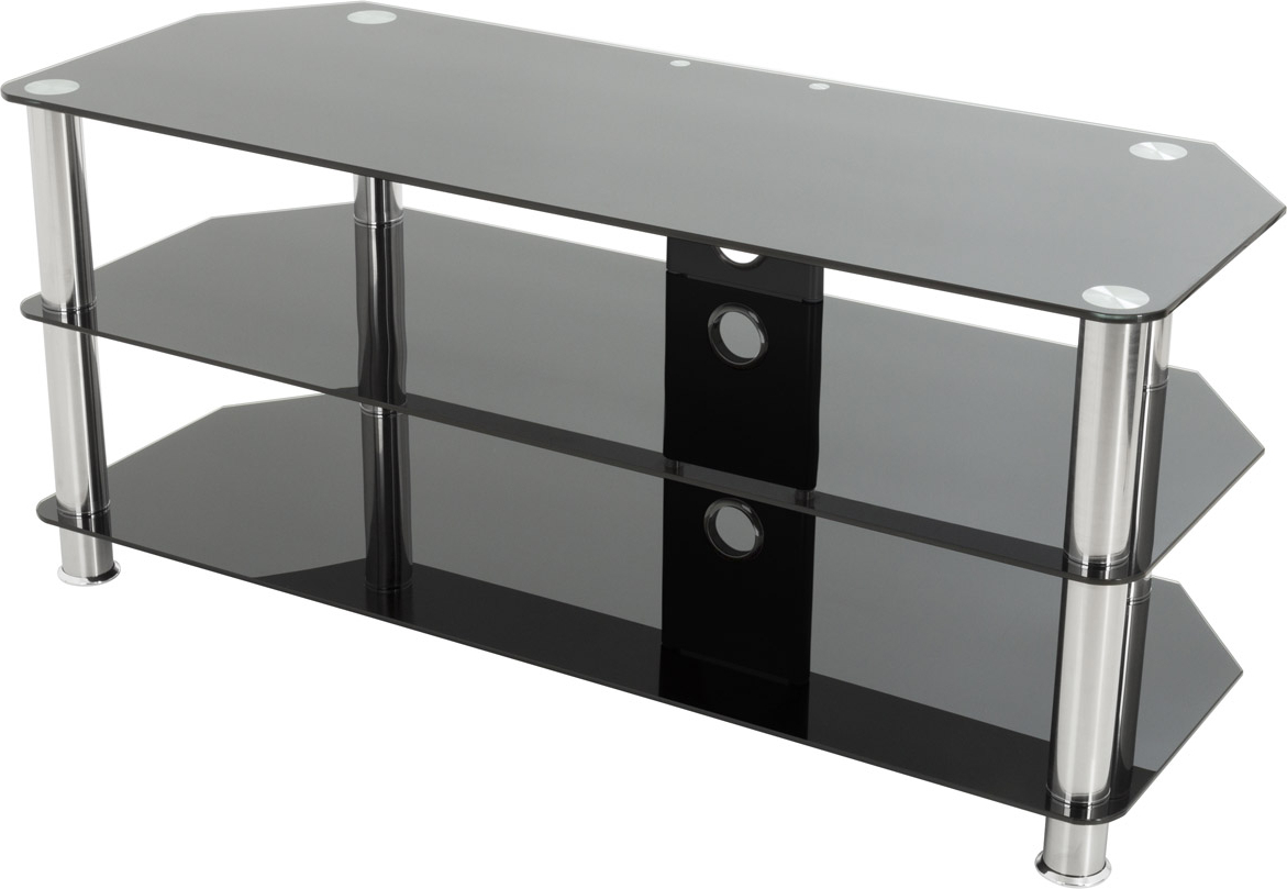 Widely Used Black Glass Tv Stands Within Black Glass Tv Stand Brilliant Avf Universal And Chrome Legs Tv For (View 11 of 20)