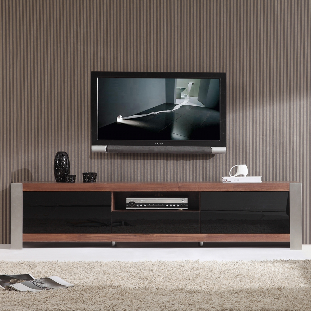 """Widely Used Contemporary Tv Cabinets With B Modern Bm 140 Brn Coordinator 79"""" Contemporary Tv Stand In Light (View 11 of 20)"""