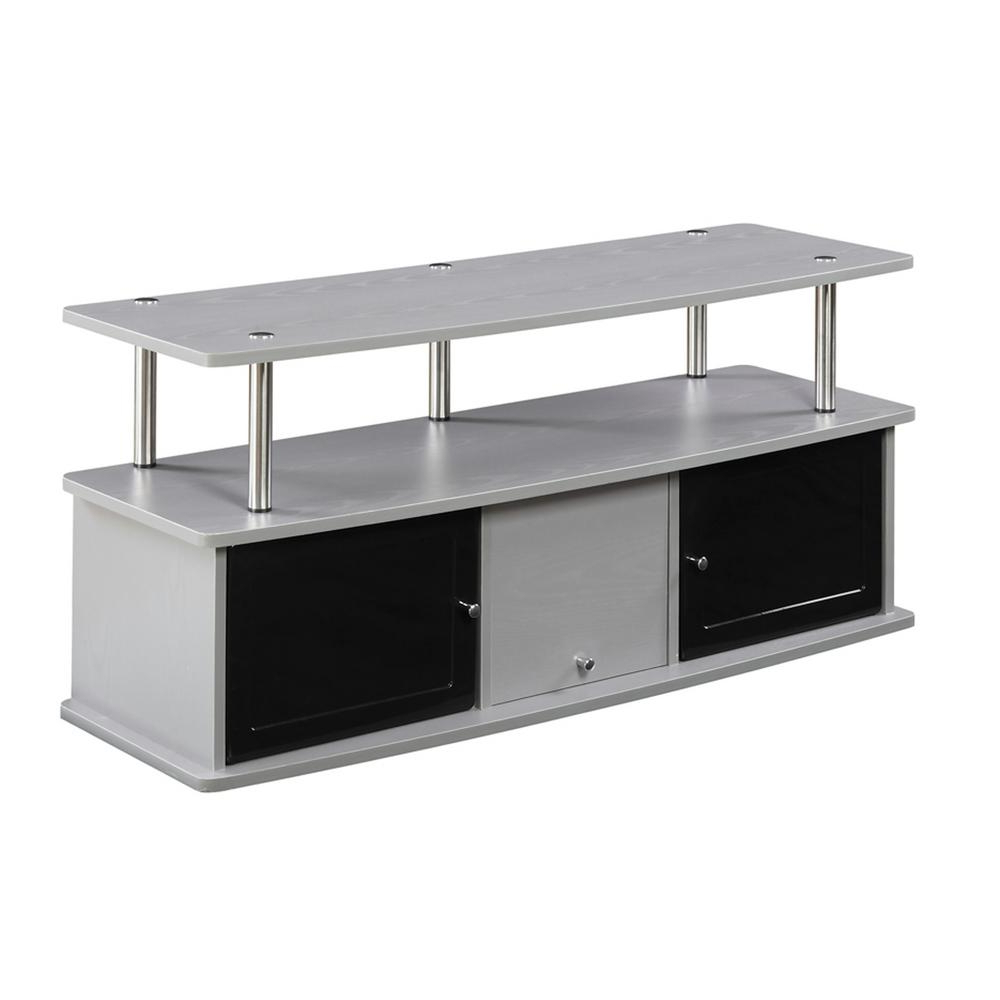 Widely Used Convenience Concepts Designs2go Gray 3 Cabinet Tv Stand Throughout Cabinet Tv Stands (View 8 of 20)