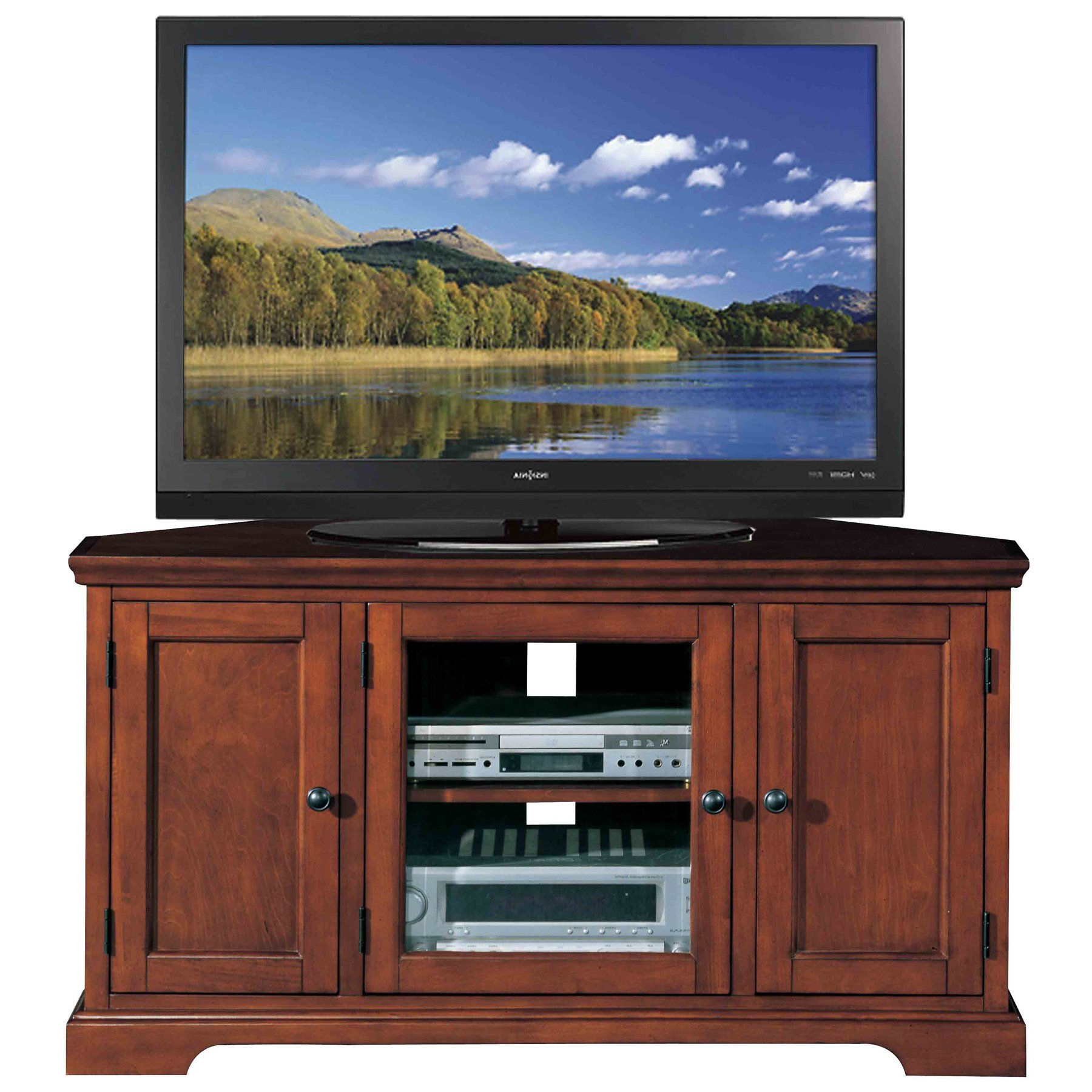 Widely Used Corner Tv Stands For 46 Inch Flat Screen Regarding Leick Riley Holliday Westwood Corner Tv Stand With Storage, 46 Inch (View 9 of 20)