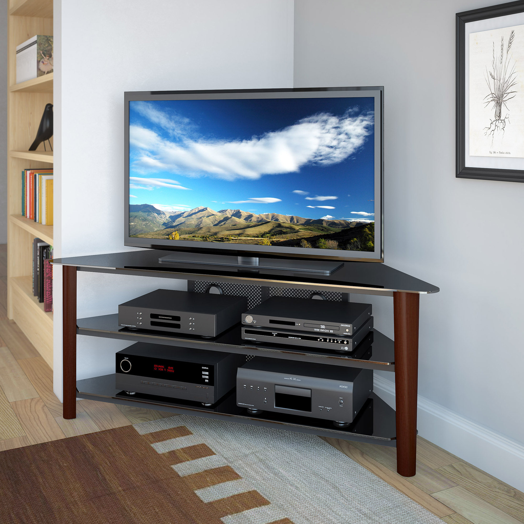 Widely Used Corner Tv Stands For 55 Inch Tv Intended For Tv Stands: Top Contemporary Design Of Corner Tv Stand For 55 Inch (View 9 of 20)
