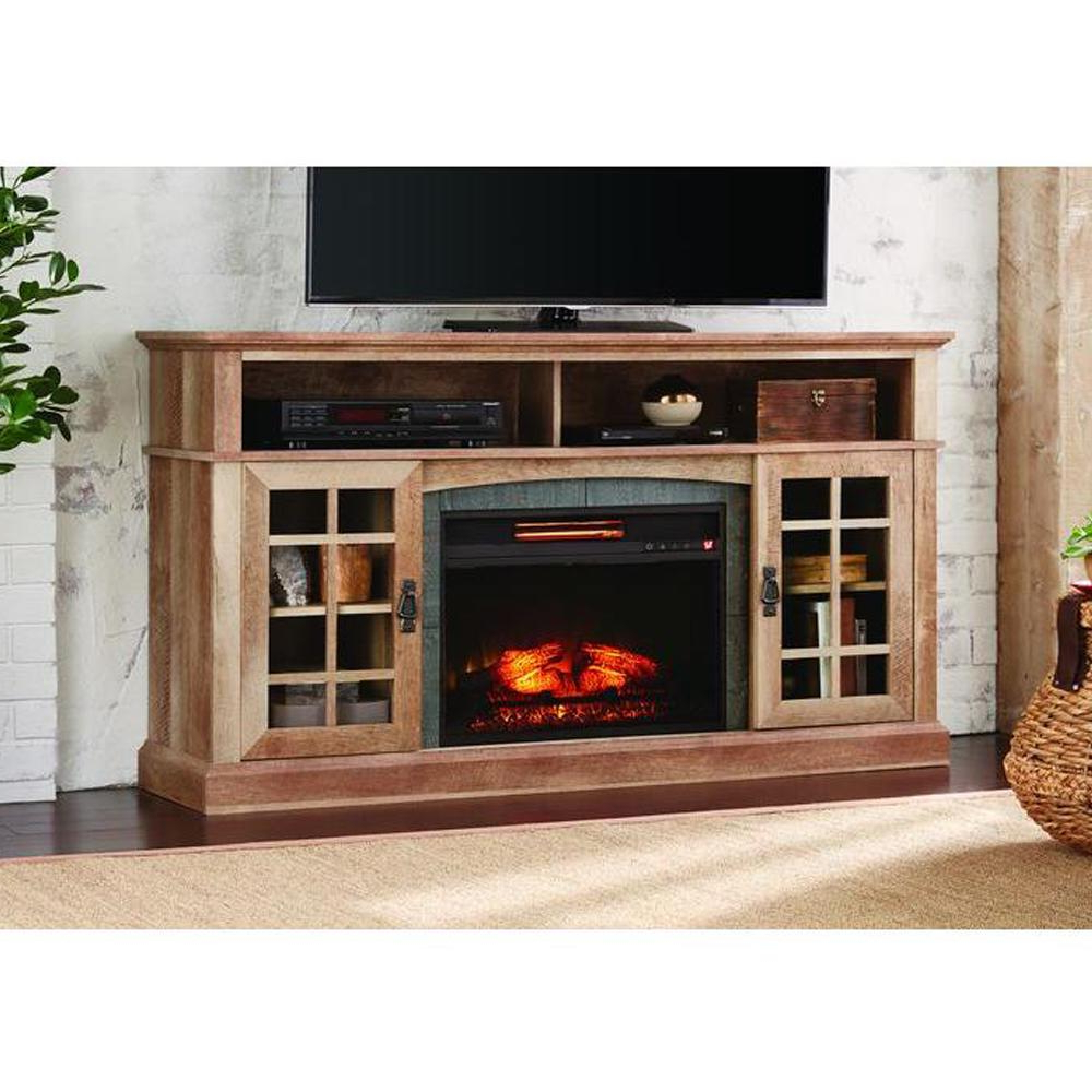Widely Used Country Style Tv Stands Intended For Rustic Electric Fireplaces The Natural Beige Driftwood Home (View 8 of 20)