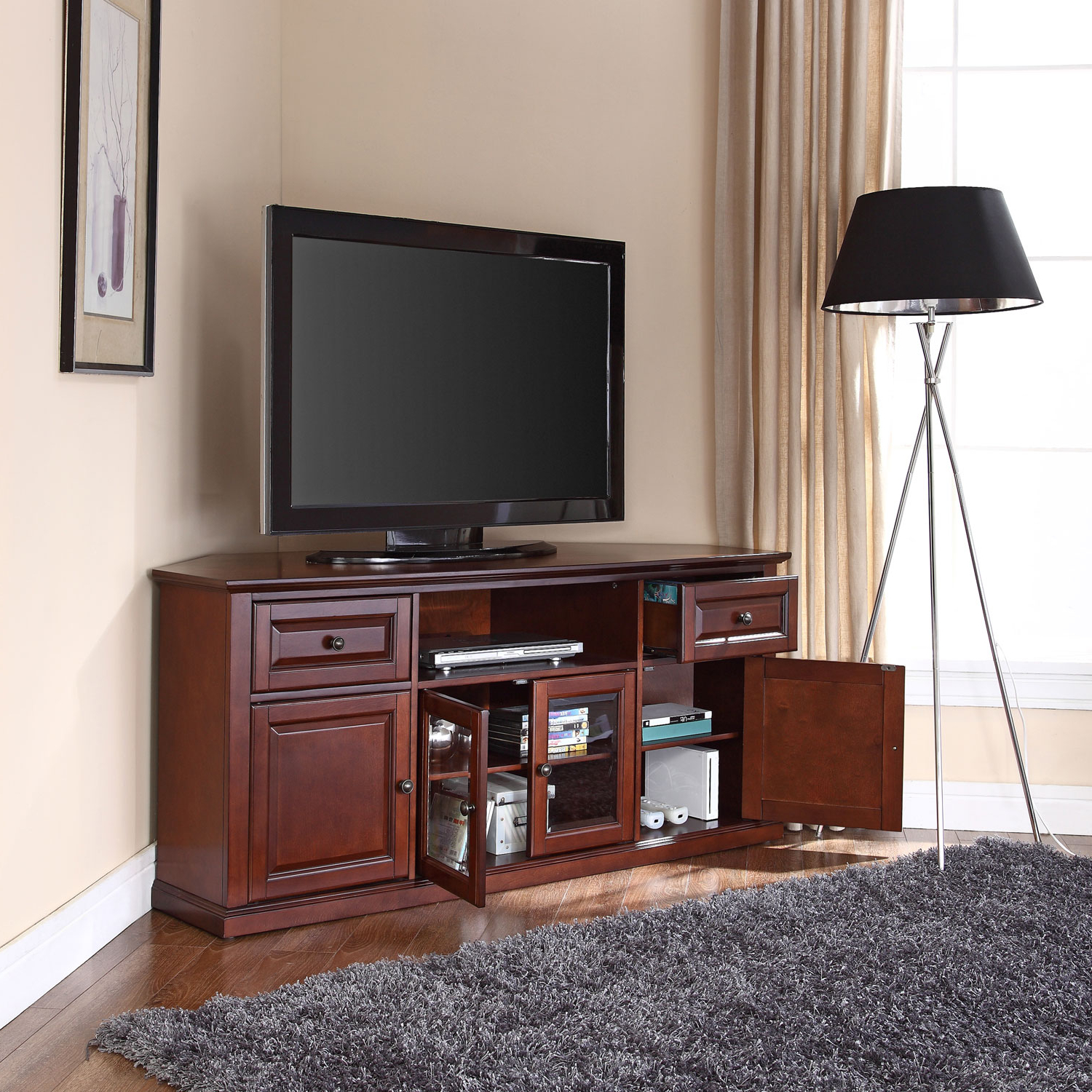 Widely Used Crosley Furniture 60 Inch Corner Tv Stand In Vintage Mahogany With Mahogany Tv Cabinets (View 9 of 20)