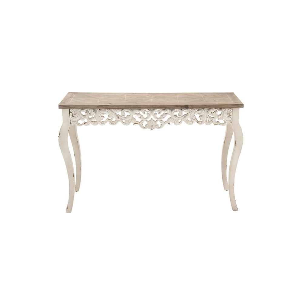 Widely Used Distressed Antique White And Taupe Rectangular Parisian Inspired Throughout Antique White Distressed Console Tables (View 20 of 20)