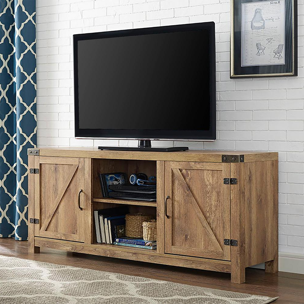 Widely Used Entertainment Center Tv Stands Throughout Walker Edison Furniture Company Rustic Barnwood Storage (View 4 of 20)