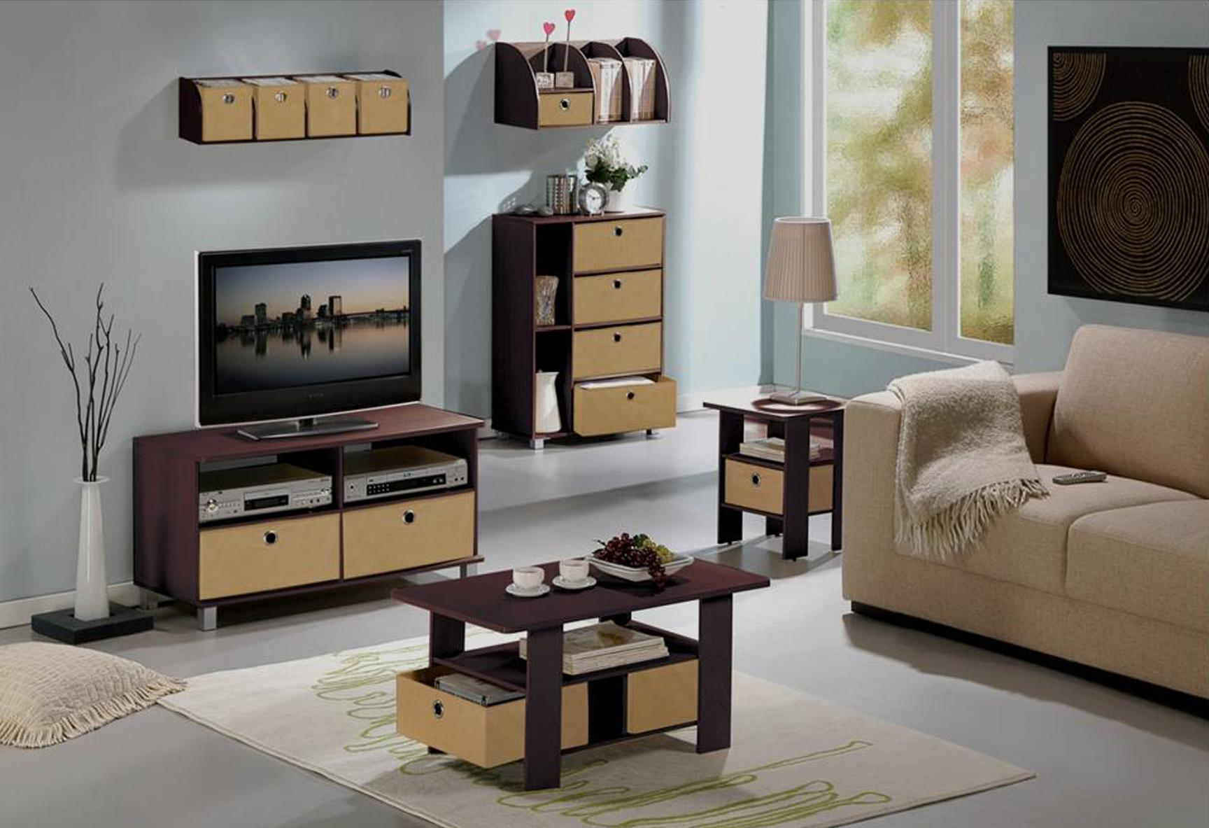 Widely Used Furinno 11157dbr/bk End Table Bedroom Night Stand W/bin Drawer, Dark With Regard To Tv Cabinets And Coffee Table Sets (View 12 of 20)