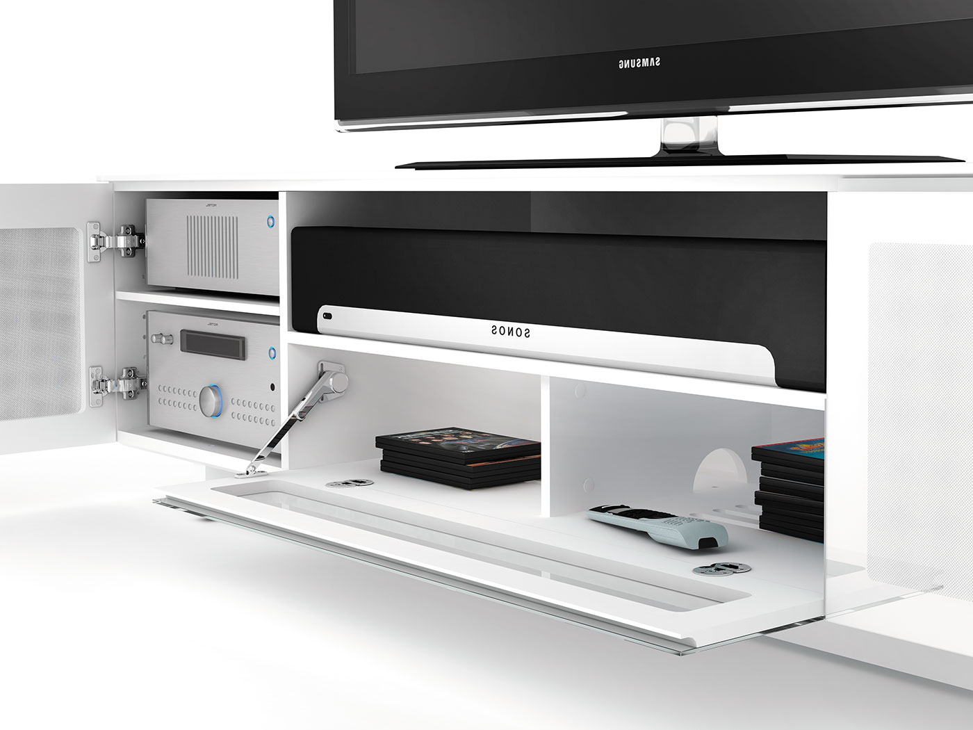 Widely Used Gloss White Tv Cabinets With Regard To Nora 8239 Tv Stand – Bdi Designer Tv Stands And Cabinets For Home (View 16 of 20)