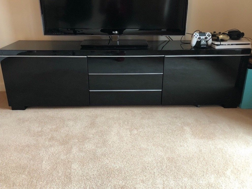 Widely Used Ikea Black High Gloss Tv Stand Unit Bench Besta Burs Cupboard (View 16 of 20)