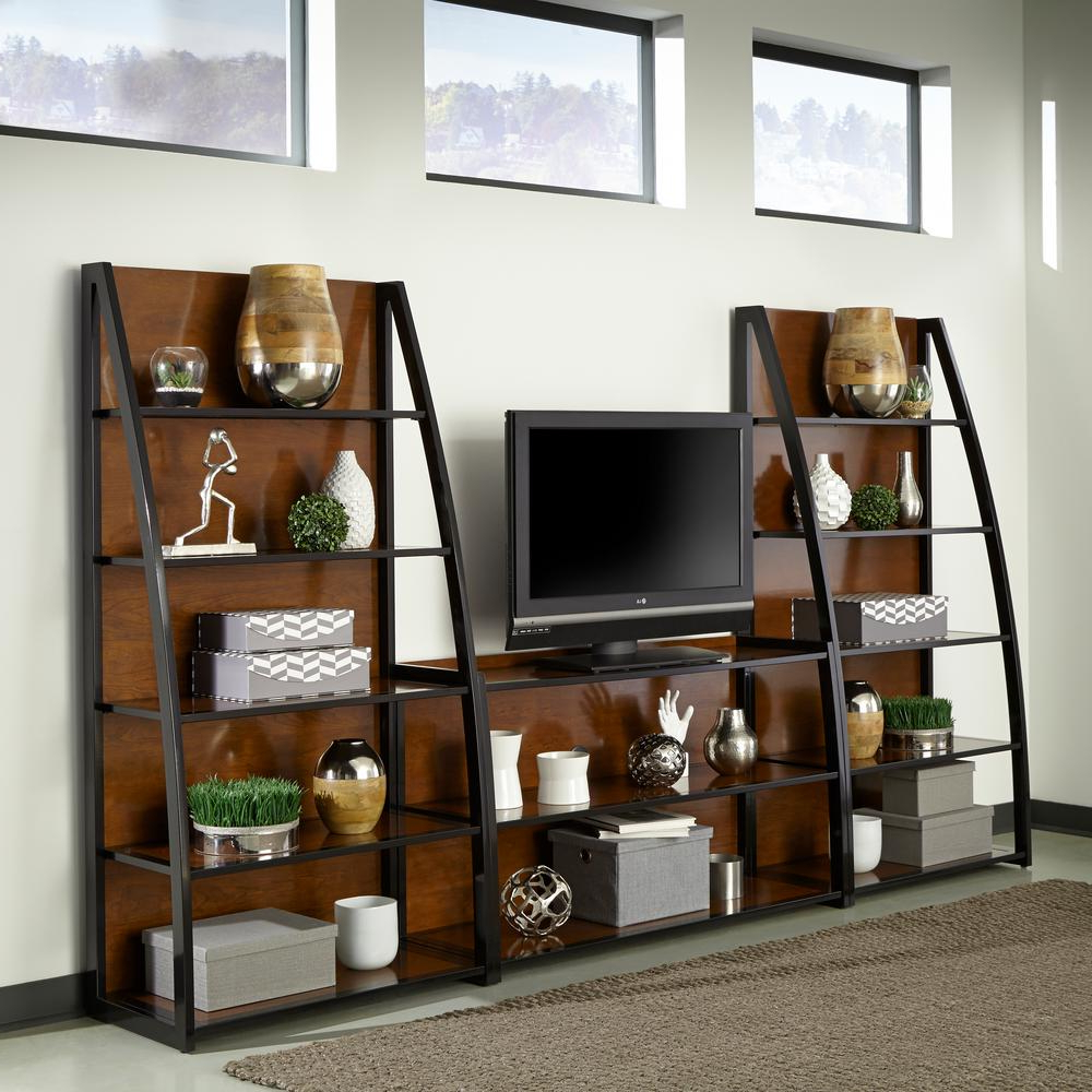 Widely Used Lauderdale 74 Inch Tv Stands Within Sauder Beginnings Cinnamon Cherry Shelved Entertainment Center (View 20 of 20)
