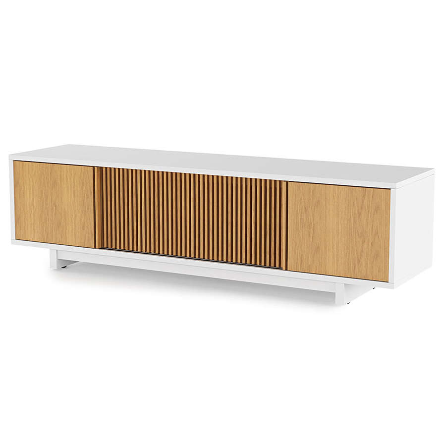 Widely Used Long Low Tv Cabinets Intended For Vertica Oak Low Modern Tv Standbdi (View 14 of 20)