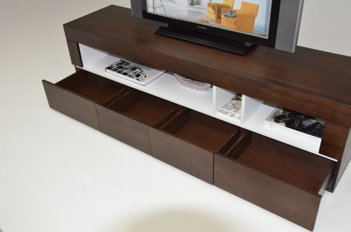 Widely Used Low Profile Contemporary Tv Stands With Regard To Tobacco Finish Contemporary Entertainment Tv Stand With Open Space (View 12 of 20)