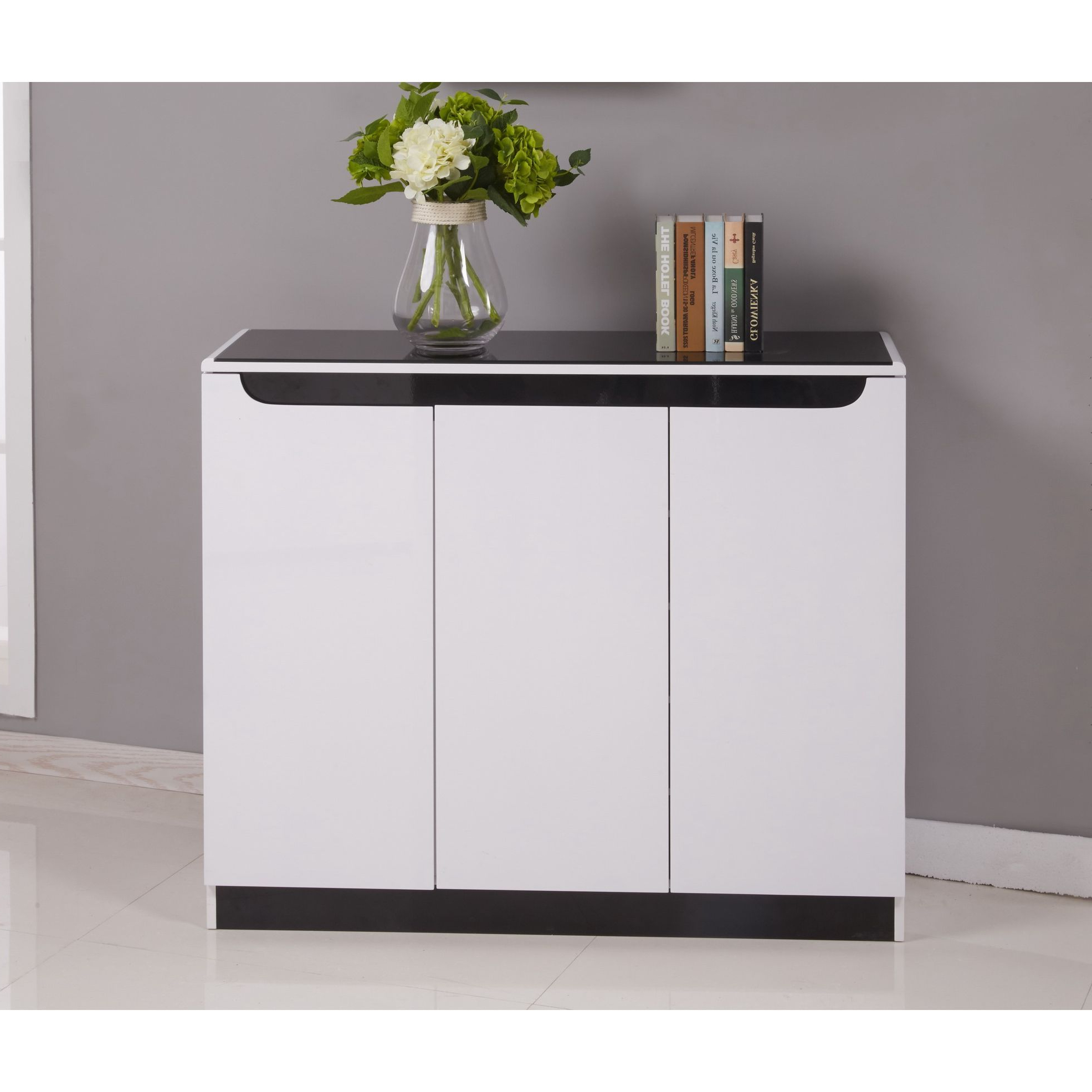 Widely Used Maestro Shoe Cabinet – White High Gloss W/ Black Glass Top (View 16 of 20)
