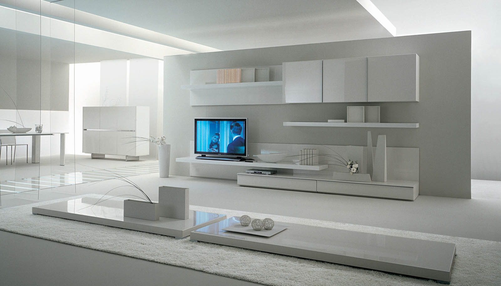 Widely Used Minimalist Living Room With Modern Storage Wall Unit Fits In White Inside Tv Units With Storage (View 15 of 20)
