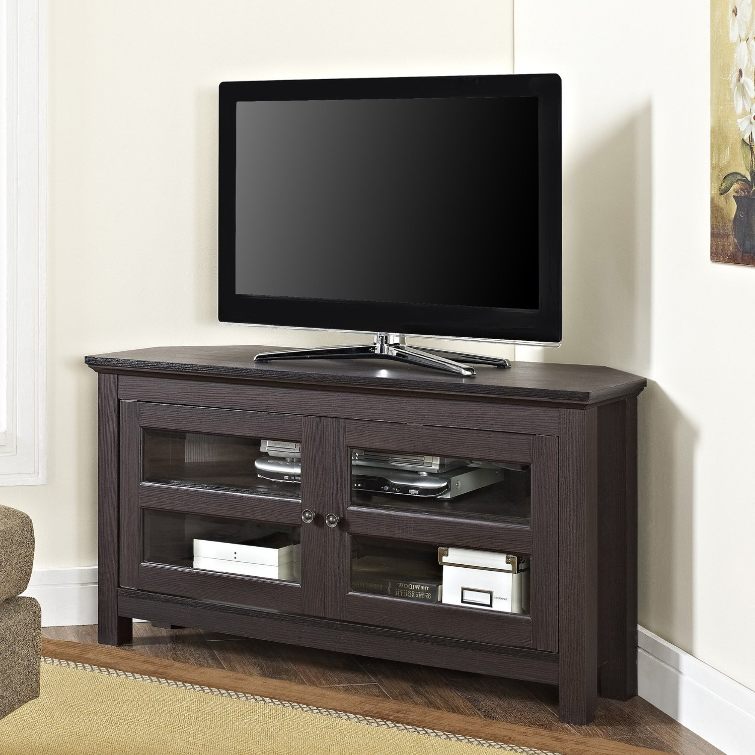 Widely Used Oak Corner Tv Stand For 50 Inch Walmart Cabinet 60 Hooker Black Within Black Corner Tv Stands For Tvs Up To  (View 20 of 20)