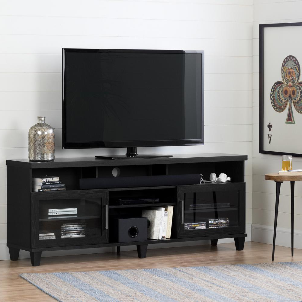 Widely Used Oak Tv Stands Regarding South Shore Adrian Black Oak Tv Stand For Tvs Up To 75 In (View 19 of 20)