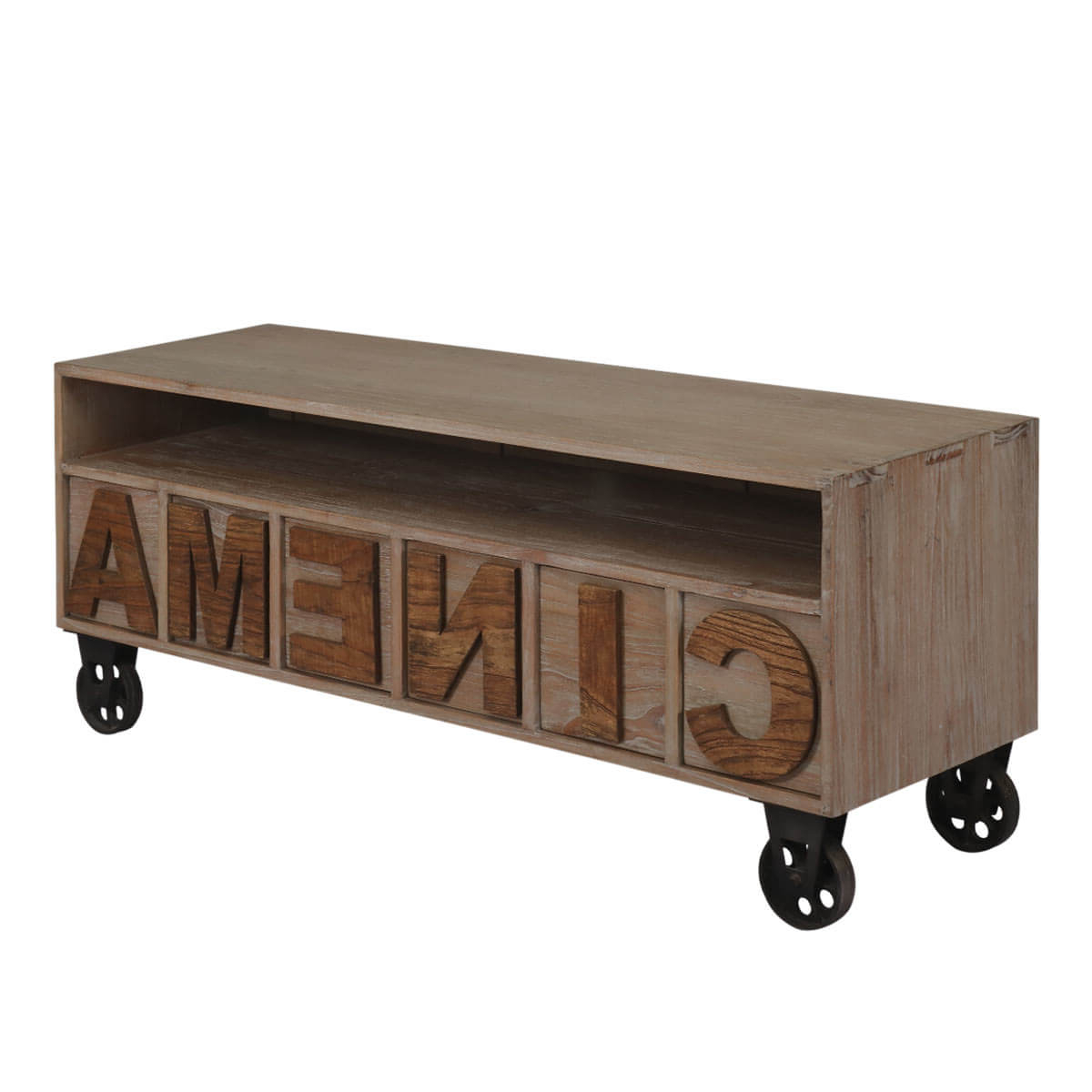 Widely Used Racine Reclaimed Teak Wood 6 Drawer Open Shelf Industrial Tv Stand Throughout Open Shelf Tv Stands (View 20 of 20)
