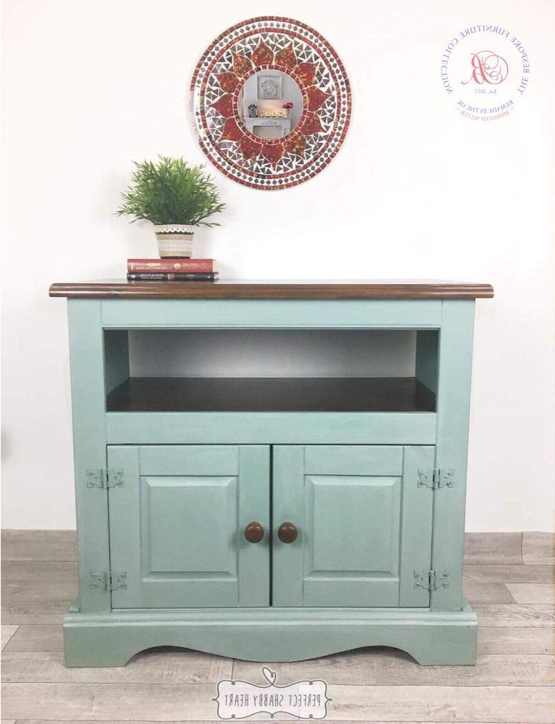 Widely Used Rustic Tv Cabinet, Shabby Chic Tv Cabinet, Duck Egg Blue Storage Throughout Shabby Chic Tv Cabinets (View 3 of 20)