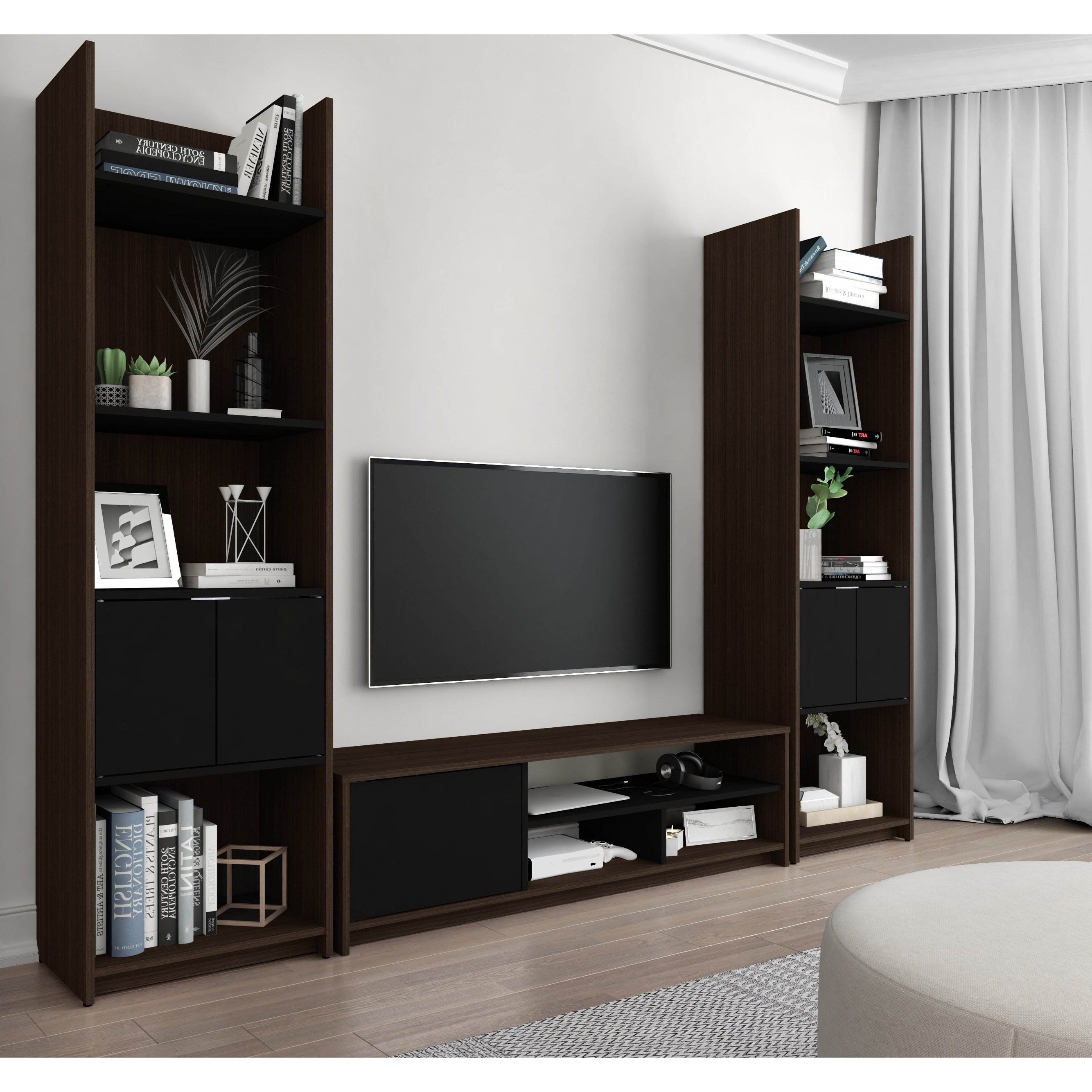 Widely Used Shop Bestar Small Space 3 Piece Tv Stand And 2 Storage Towers Set Throughout Tv Stands For Small Spaces (View 9 of 20)