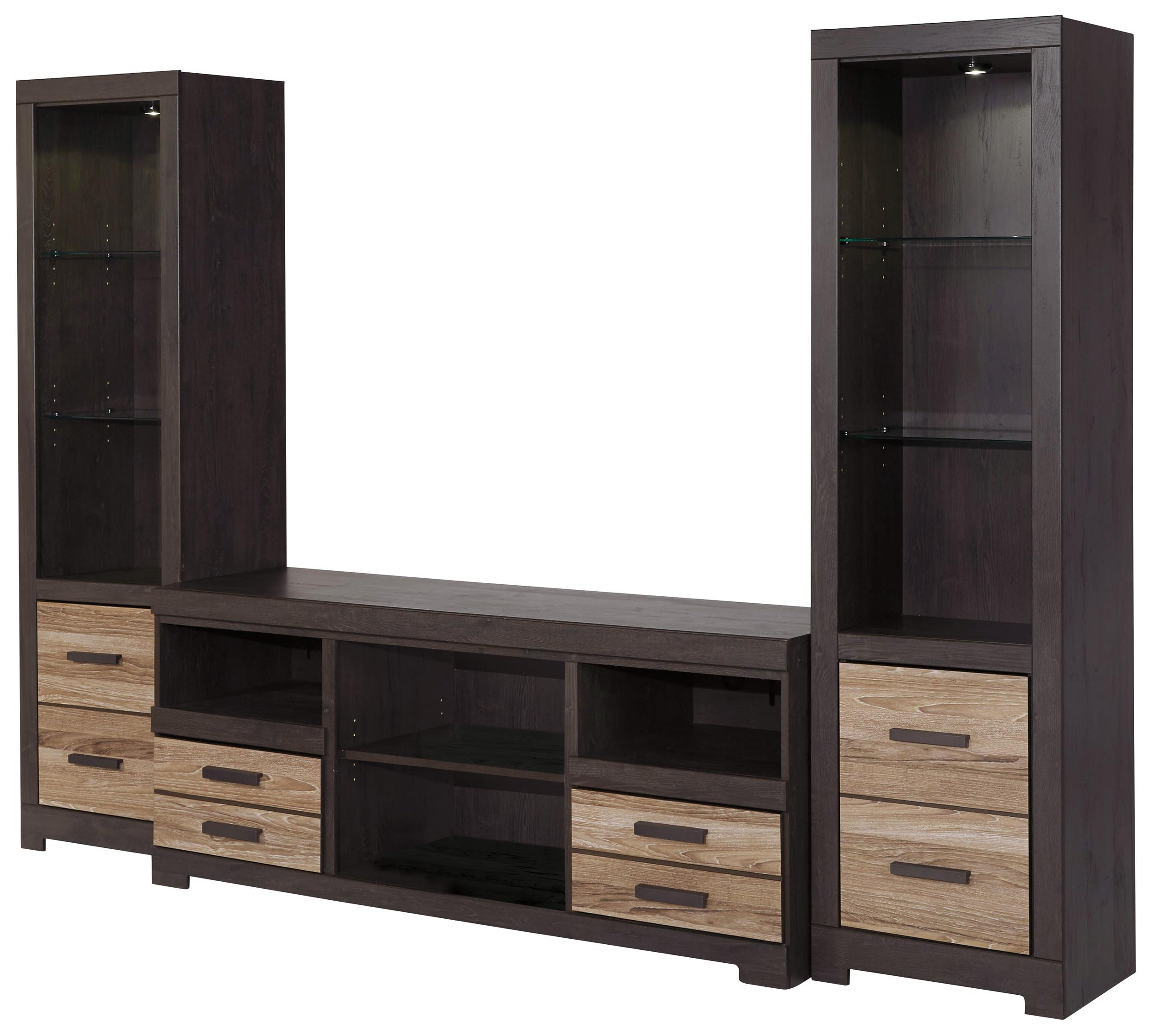Widely Used Signature Designashley Harlinton Large Tv Stand & 2 Tall Piers Regarding Large Tv Cabinets (View 20 of 20)
