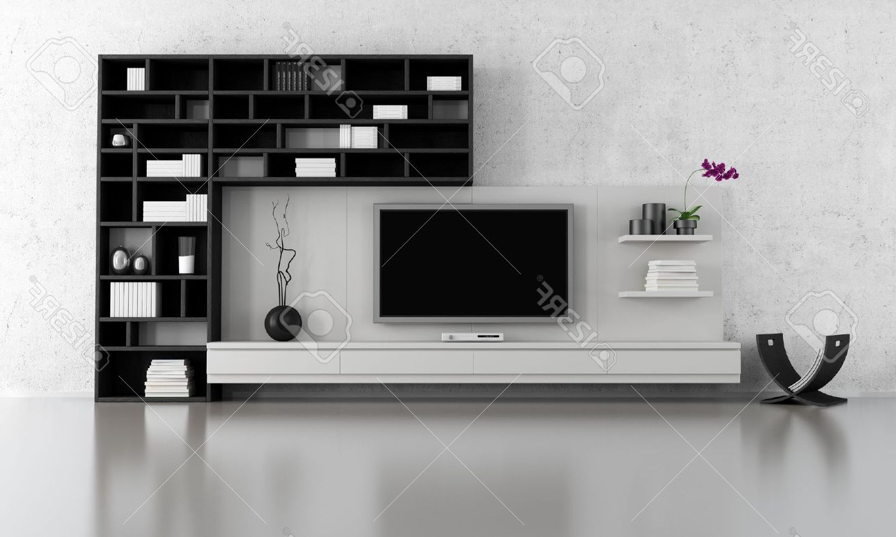 Widely Used Tv Stands And Bookshelf Pertaining To Black And White Living Room With Tv Stand And Bookcase – Rendering (View 7 of 20)