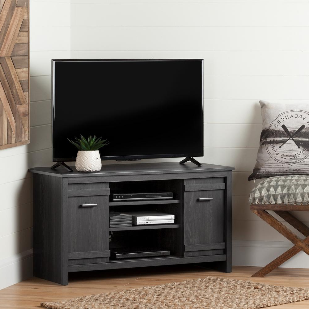 Widely Used Tv Stands For Corners Throughout South Shore Exhibit 50 Disk Capacity Corner Tv Stand In Gray Oak (View 8 of 20)
