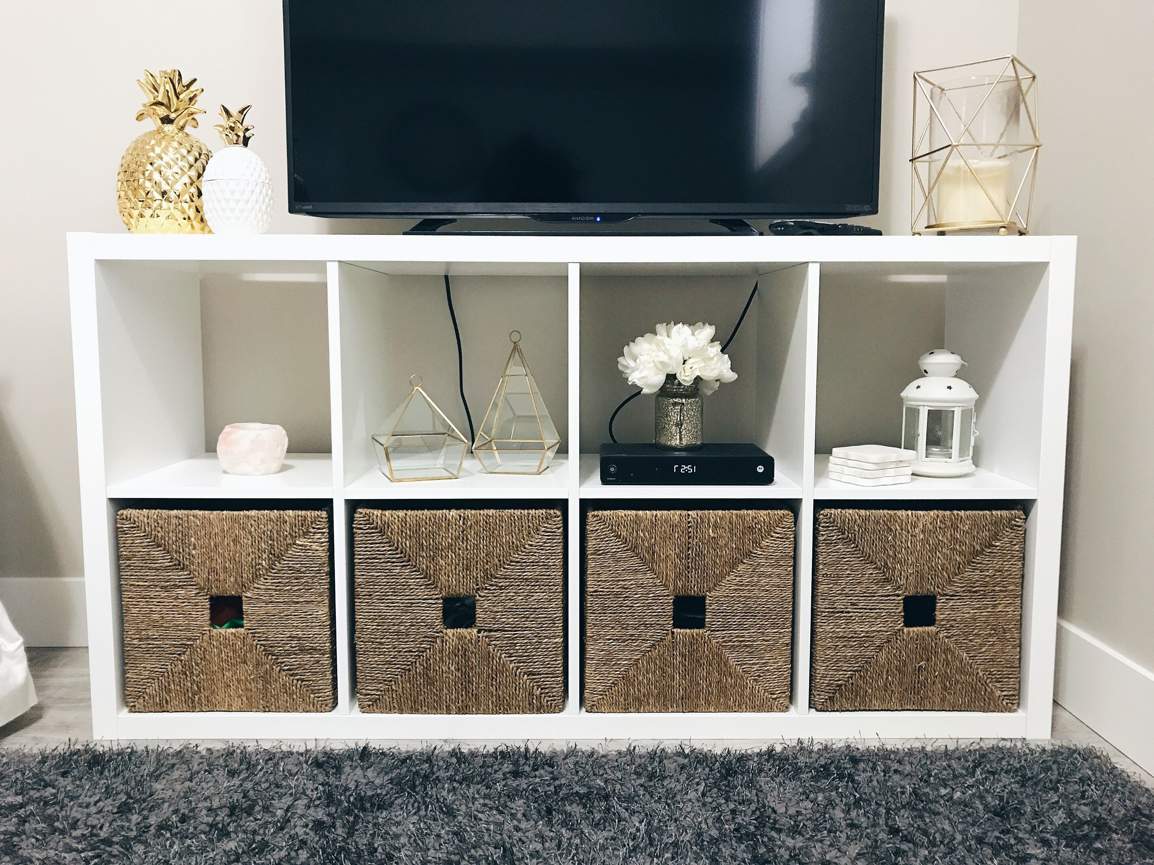Widely Used Tv Stands With Baskets Within Kallax #shelving From #ikea Used As A Tv Stand, Featuring #knipsa (View 2 of 20)